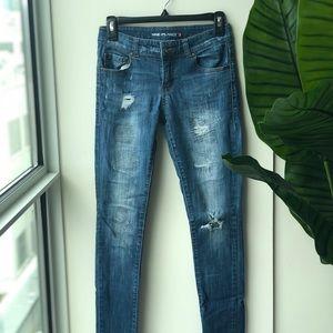 Denim - Lightly ripped blue jeans